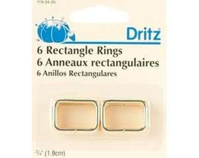 """Dritz - 6 Rectangle Rings 3/4"""" Gold"""