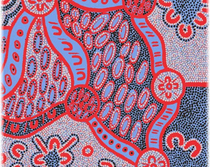 "M&S Textiles - Women Dreaming 2 Blue by Geraldine Dixon Australian Aboriginal Fabrics 44"" wide 100% Cotton Fabric"