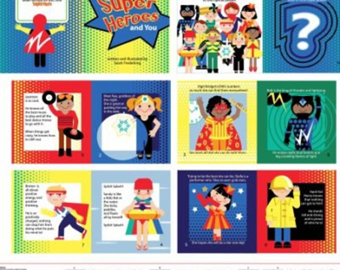 Super Heroes Soft Book Panel by Sarah Frederking - Studio E 100% cotton (#25)