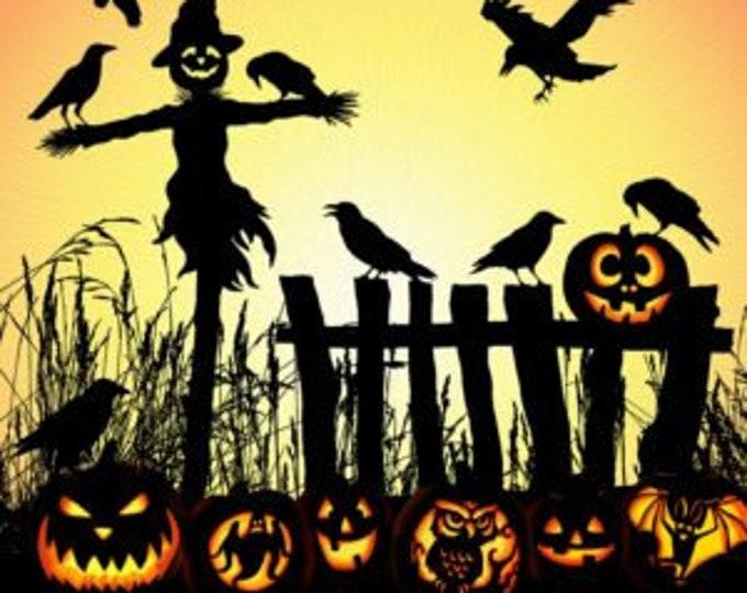"Supernova Harvest Halloween Scarecrow Panel Hoffman 1 1/3 yard Panel 48"" x 44"" 100% cotton (#21)"