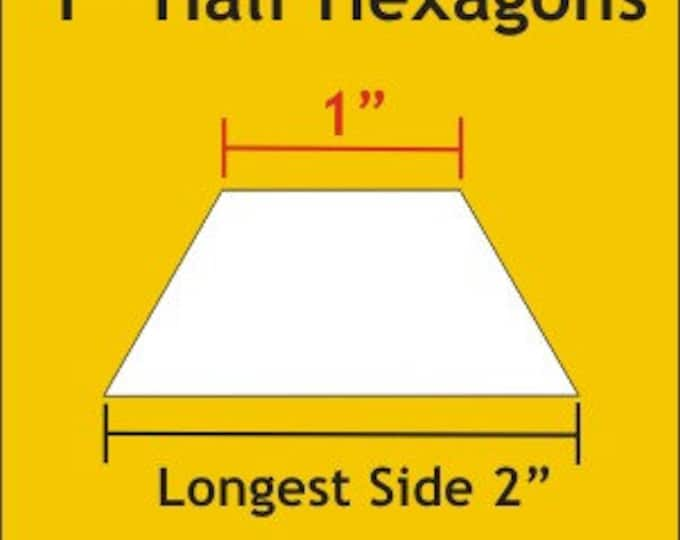 "Paper Pieces 1"" Half Hexagon 75 Pieces HHX100"