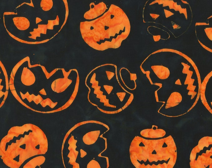 "Trick Or Treat Pumpkins Black Anthology Batiks 100% Cotton 44/45"" Wide Fabrics"
