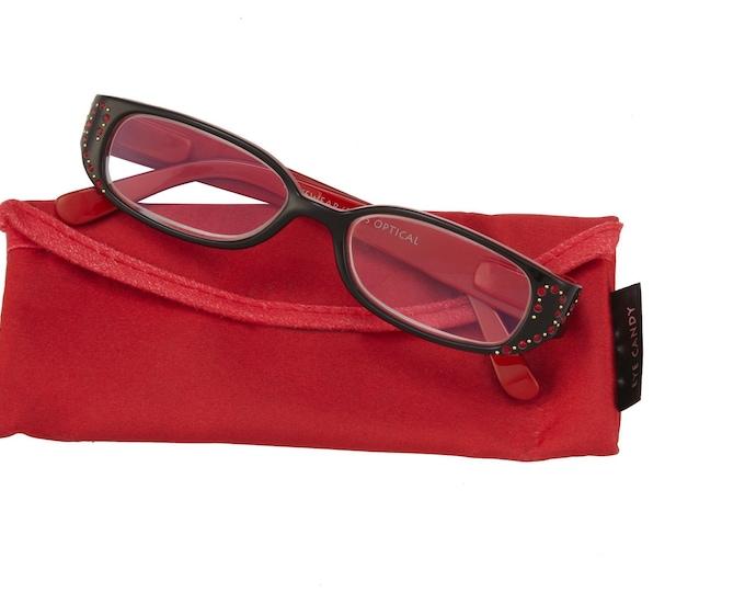 Jules Reading Glasses Red Magnifier, Reader +1.50 I Heart Eyewear