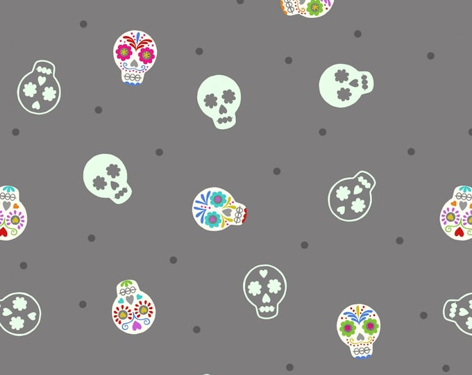 """Small Things GLOW Sugar Skulls on Grey by Lewis and Irene Ltd   44"""" wide 100% Cotton Fabric"""