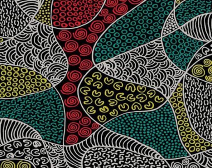 "M&S Textiles - BUSH Coconut Dreaming Red  By Martin Napanangka Australian Aboriginal Fabrics 44"" wide 100% Cotton Fabric"