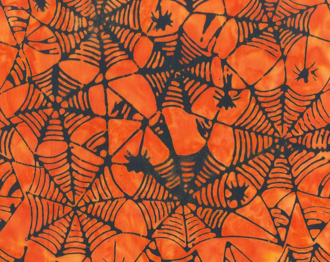 "Trick Or Treat Webs Orange Anthology Batiks 100% Cotton 44/45"" Wide Fabrics"