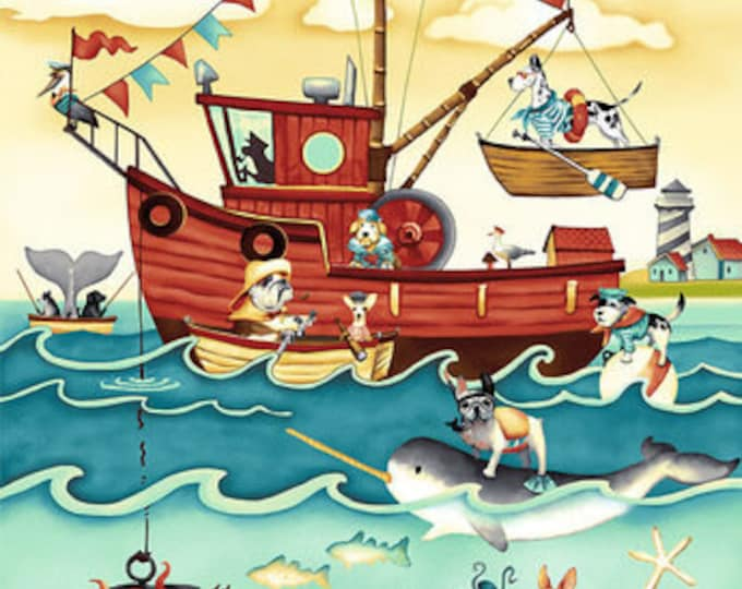 """Salty Dogs by Studio E  - 24"""" Panel 100% cotton (#6)"""