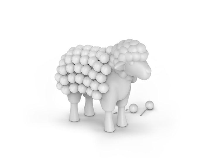 Fred Push Pin Stuck On Ewe Sheep. Pin Cushion with Pins