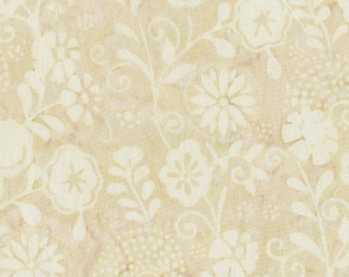 "Marcus Brothers Primo Batik River Rock Cream Floral 100% Cotton 44"" wide fabric"