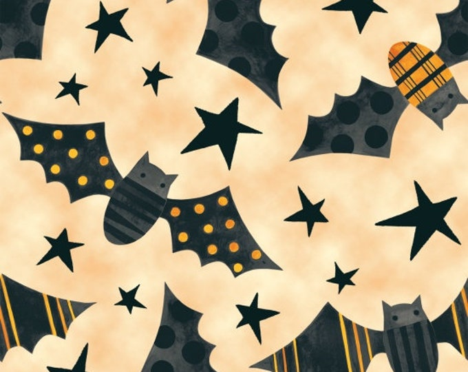 """Too Cute To Spook Bats Tan for Blank Quilting  100% Cotton 44/45"""" Wide Fabrics"""
