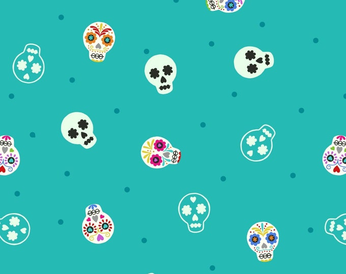 """Small Things GLOW Sugar Skulls on Turquoise by Lewis and Irene Ltd   44"""" wide 100% Cotton Fabric"""