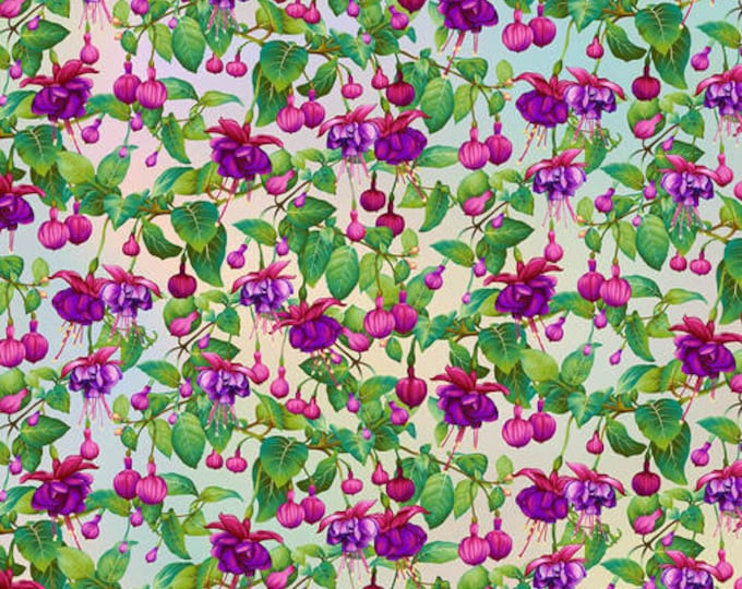 "Gossamer Garden Fuchsia Flowers by Henry Glass  2653-10   44"" wide 100% Cotton Fabric"