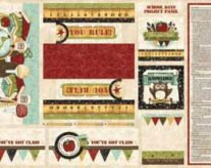 Red Rooster - School Days School Panel 457125549MUL1XXXX 100% cotton (#sale)
