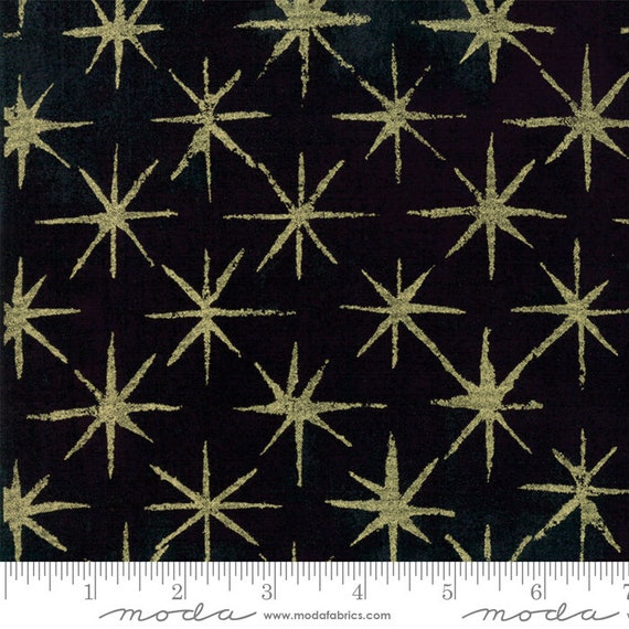 Moda Basic Grey Seeing Stars Metallic  Black 30148-41M  44-inch Wide Cotton Fabric Yardage