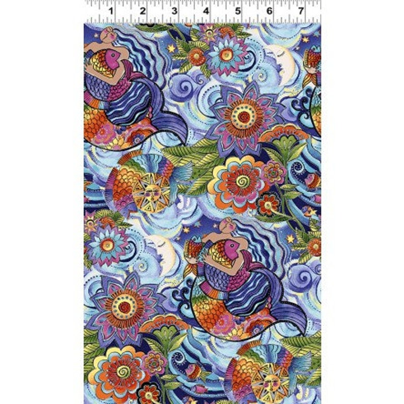 Clothworks Laurel Burch Sea Goddess y2598-84M Light Periwinkle Metallic  **Half Yard Cuts**