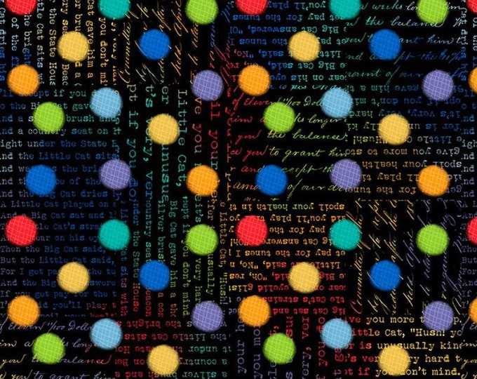"Feeline Good Rainbow Spots Black Multi by Wilmington Prints 84449-943-795 44"" wide 100% Cotton Fabric"