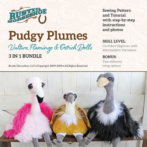 Pudgy Plumes Vulture, Flamingo & Ostrich Dolls 3 in 1 Bundle Pattern Only