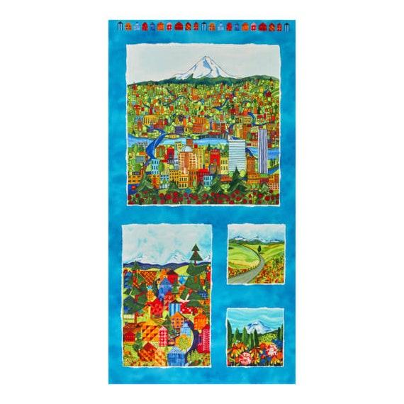 "Quiltlandia Blue Oregon Panel 24"" Maywood Studios 100% Cotton (#2)"