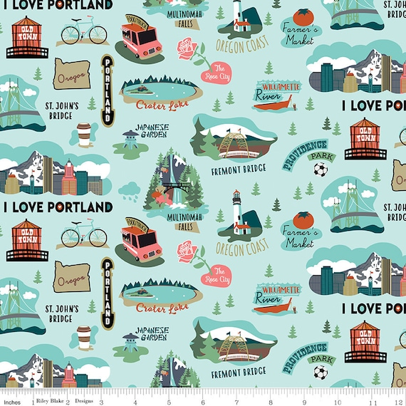 "I Love Oregon Fabric Riley Blake Aqua 100% Cotton 44/45"" wide"