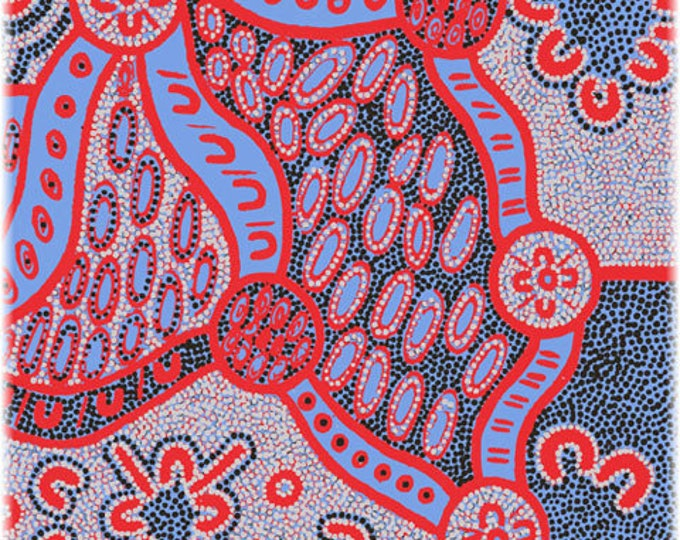 "Women Dreaming 2 Blue by Geraldine Dixon for M&S Textiles Australian Aboriginal-Fabrics 44"" wide 100% Cotton Fabric"