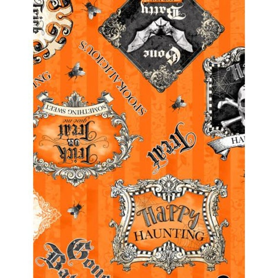 "Gone Batty - Wilmington Prints - Halloween Phrases on Orange 100% cotton 44/45"" wide fabric"