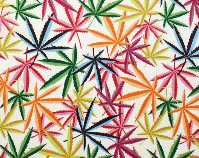"Herb (Marijuana) by Nicole Prints for Alexander Henry Fabrics  -Rainbow 8308-C - 100% Cotton 44/45"" wide fabric"