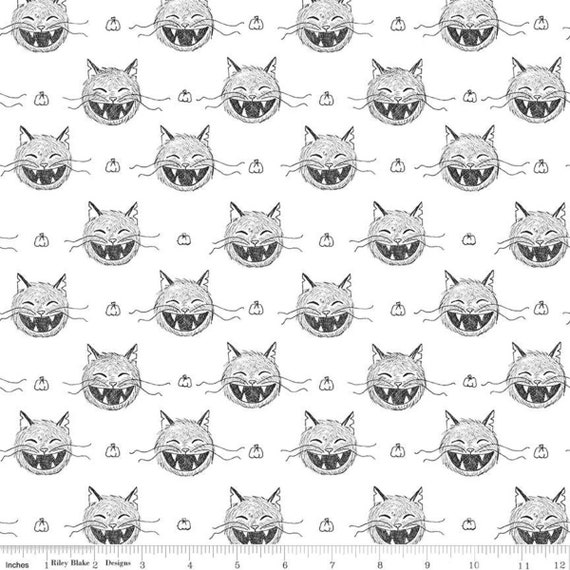 "Riley Blake Scaredy Cat Heads White Chalkboard Cats C9410 100% Cotton 44/45"" wide fabric"