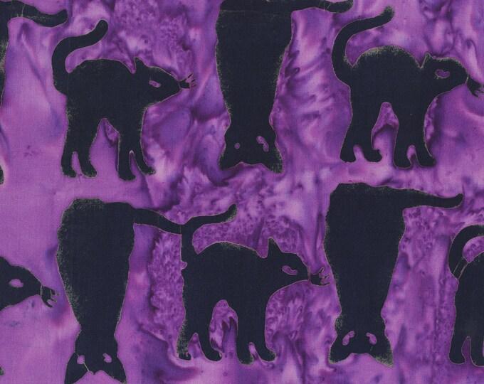 "Trick Or Treat Cats Purple Anthology Batiks 100% Cotton 44/45"" Wide Fabrics"