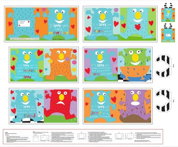"Little Monster Book Panel  36""  by Studio E 100% cotton"