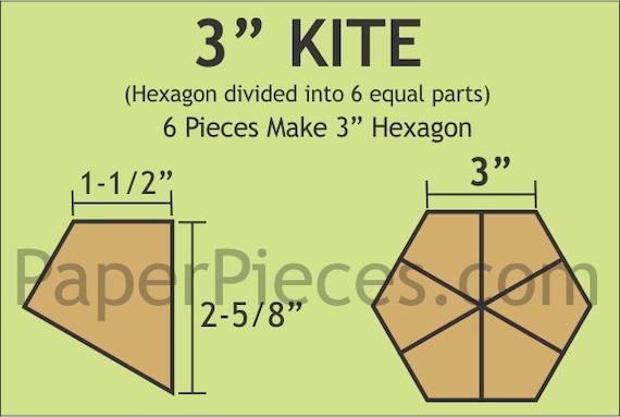 "Paper Pieces 3"" Hexagon Kite 180 Pieces HKITE300L"