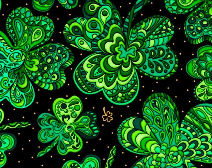 "Irish Wishes Fancy Shamrocks on Black QT Fabrics  44"" wide 100% Cotton Fabric"