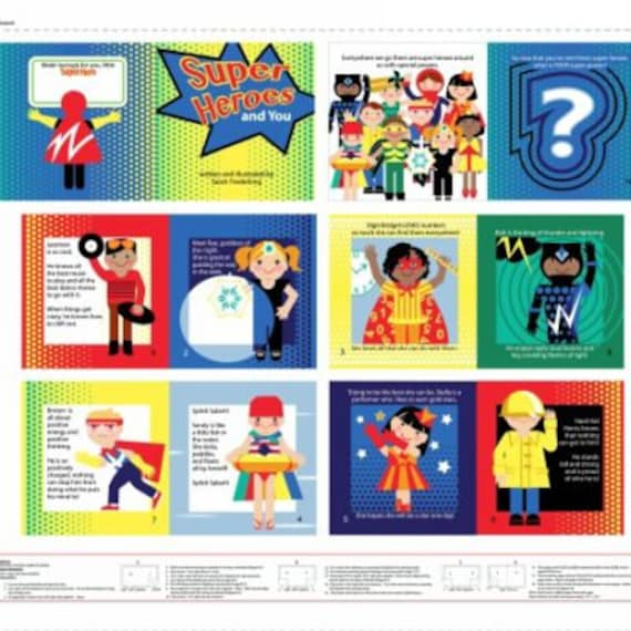 Super Heroes Soft Book by Sarah Frederking - Studio E 100% cotton (#25)