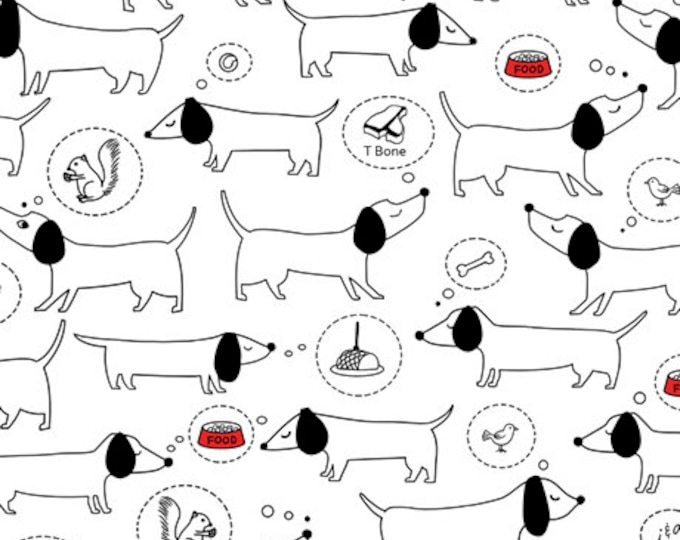 """Hot Diggity Dogs on White  QT Fabrics 44"""" wide 100% Cotton Fabric"""