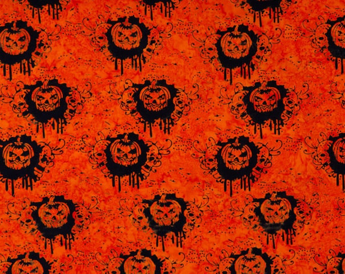 "Trick Or Treat Pumpkins Orange Anthology Batiks 100% Cotton 44/45"" Wide Fabrics"