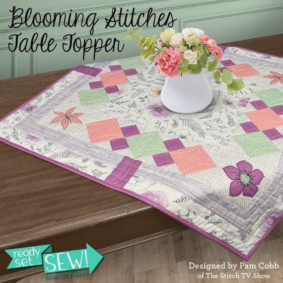 QT Fabrics Blooming Stitches Table Topper Class In A Bag 100% cotton
