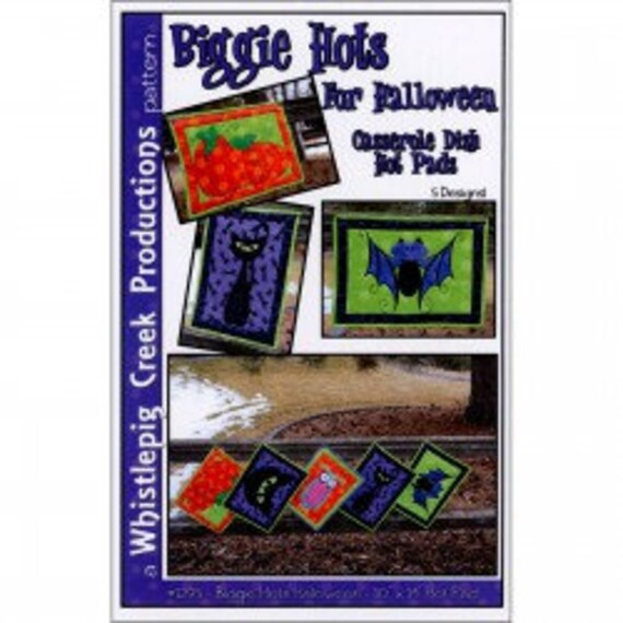 """Whistlepig Creek Productions - Biggie Hots for Halloween -Casserole Dish Hot Pads 5 Designs 10""""x 14"""" Hot Pads  WCP1295"""