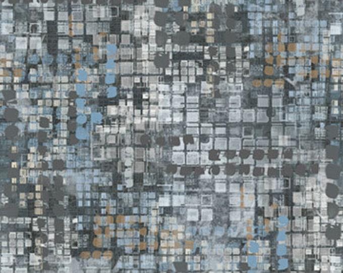 "Northcott City Lights Small Textured Blocks Med Grey 23959-95- 100% Cotton 44/45"" wide fabric"