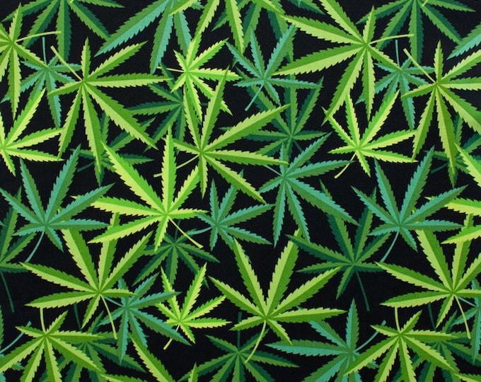 "Herb (Marijuana) by Nicole Prints for Alexander Henry Fabrics  -Green on Black 8308-B - 100% Cotton 44/45"" wide fabric"
