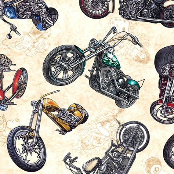 "Easy Rider Tossed Motorcycles on Cream 27481-E QT Fabrics 100% Cotton 44/45"" wide fabric"