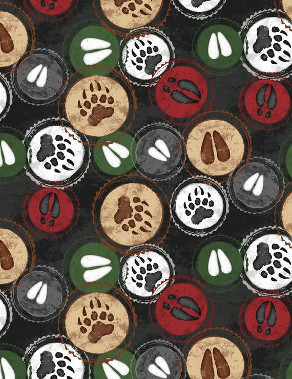 "FLANNEL Welcome Cabin Hoof Stamp Black by Wilmington Prints  44"" wide 100% Cotton Fabric"