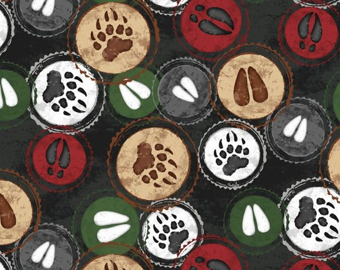 """FLANNEL Welcome Cabin Hoof Stamp Black by Wilmington Prints  44"""" wide 100% Cotton Fabric"""
