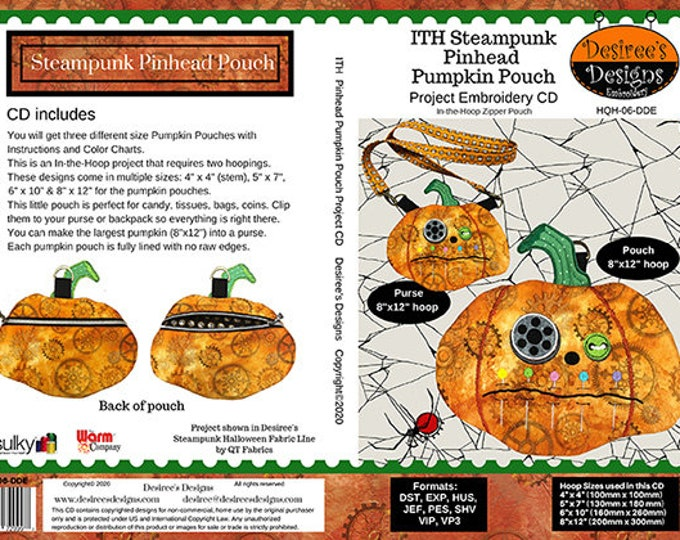 Steampunk Pinhead Pumpkin Pouch Embroidery CD- (HQH-06-DDE)