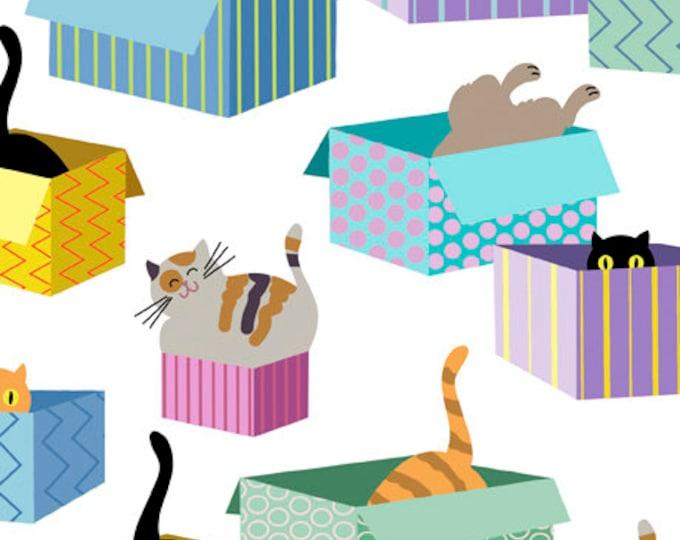 "Cat In The Box White QT Fabrics  44"" wide 100% Cotton Fabric"