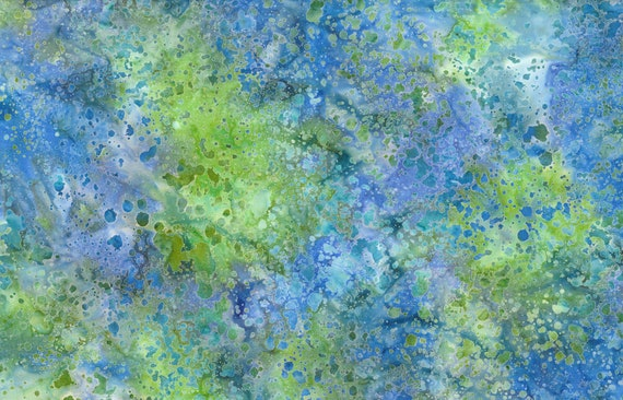 "Coconut Stick Splatter Blue/Green Batik from Wilmington Prints #447   100% cotton 44/45"" wide fabric"