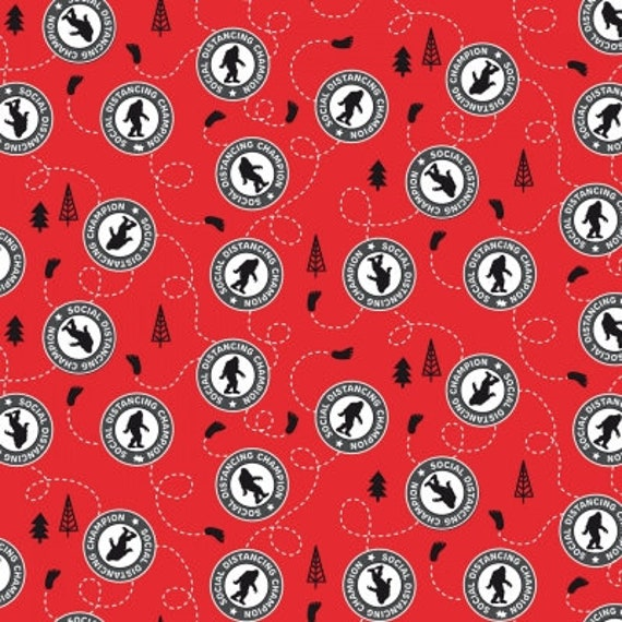 "Sasquatch Social Distancing Champion Red Mask Fabric by Riley Blake Designs 100% cotton 44/45"" wide fabric"