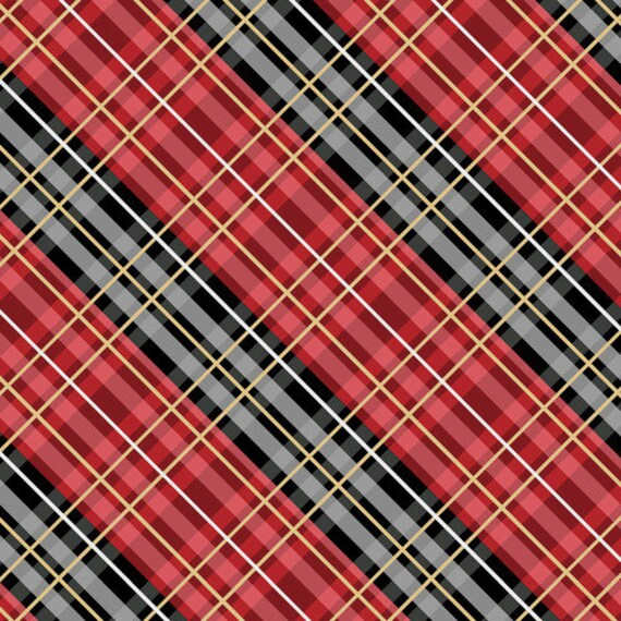"FLANNEL Welcome Cabin Red Plaid on point by Wilmington Prints  44"" wide 100% Cotton Fabric"