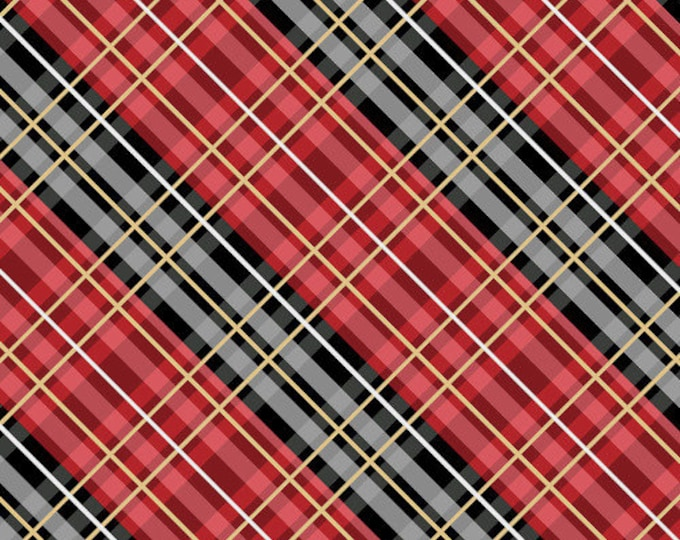 """FLANNEL Welcome Cabin Red Plaid on point by Wilmington Prints  44"""" wide 100% Cotton Fabric"""