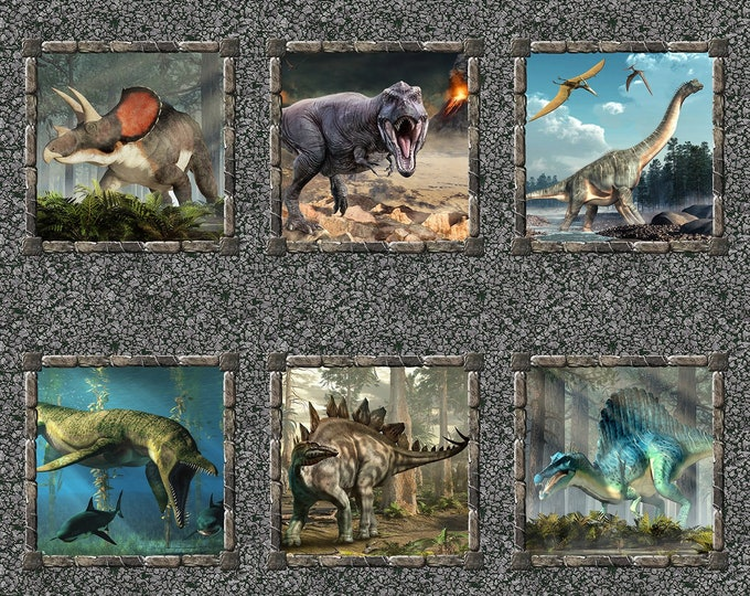 """Jurassic 36"""" Panel by In The Beginning Jason Yenter 44"""" wide 100% Cotton Fabric (#12)"""