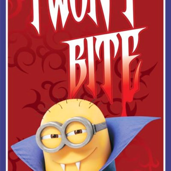 Quilting Treasures - ** SALE** Minions Vampire  I Won't Bite Panel - Red 100% cotton (#sale)