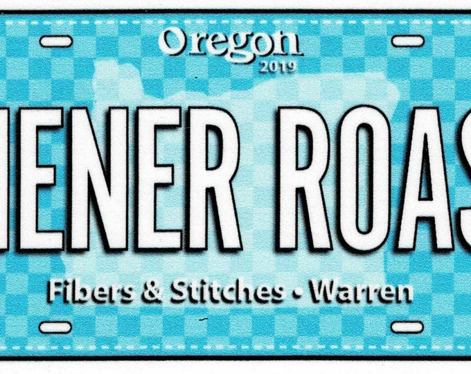 2019 Row by Row Fabric License Plate *Wiener Roast*